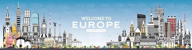 Witamy w europe skyline z szarymi budynkami i niebieskim niebem. ilustracja wektorowa. koncepcja turystyki z zabytkową architekturą. gród europy z zabytkami. londyn. berlin. moskwa. rzym. paryż.