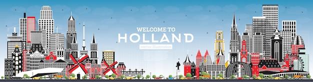 Witamy w holandii skyline z szarymi budynkami i ilustracją wektorową błękitnego nieba