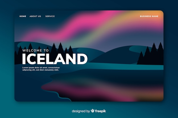 Witamy w islandii - szablon strony docelowej