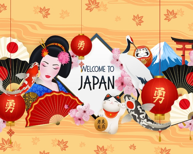 Witamy w japonii ilustracji z różnymi elementami