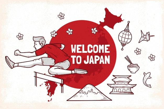 Witamy w japonii w tle