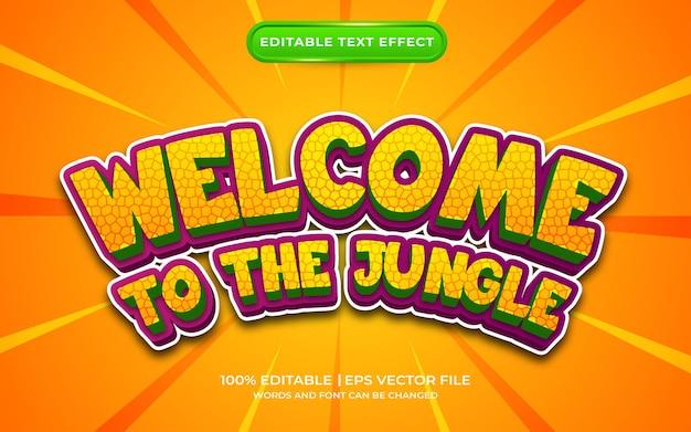 Witamy w stylu szablonu efektu tekstowego dżungli