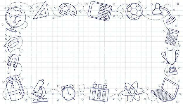 Witamy w szkole edukacja ręcznie rysowane elementy doodle prostokątna kompozycja ramy