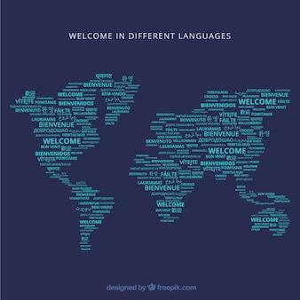 Witamy w tle kompozycji w różnych językach