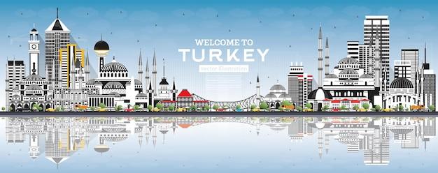 Witamy w turcji skyline z szarymi budynkami, niebieskim niebem i refleksami. ilustracja. koncepcja turystyki z zabytkową architekturą. turcja pejzaż miejski z zabytkami