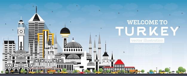 Witamy w turkey skyline z szarymi budynkami i błękitnym niebem. ilustracja wektorowa. koncepcja turystyki z zabytkową architekturą. turcja gród z zabytkami. izmir. ankara. stambuł.