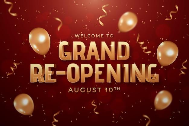 Witamy w wielkim tle ponownego otwarcia