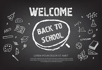 Witamy z powrotem do szkoły napis w kółku kredy