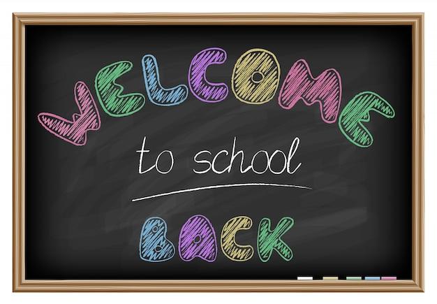Witamy z powrotem do szkolnych napisów. efekt tablicy szkolnej. ilustracji wektorowych