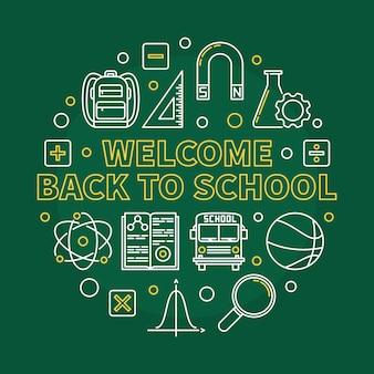 Witamy z powrotem do szkoły okrągłe liniowe ilustracji