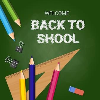 Witamy z powrotem do szkoły plakat kolorowe kredki ołówki i linijki