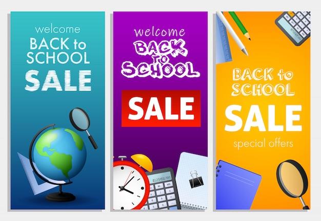 Witamy z powrotem do szkoły, zestaw napisów sprzedażowych, globus ziemski