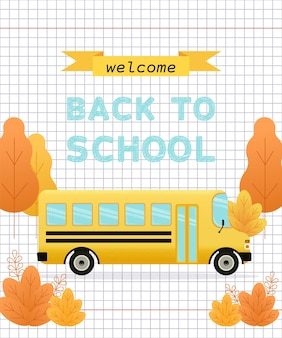 Witamy z powrotem na banerze szkolnym. ilustracja wektorowa.
