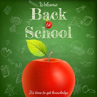 Witamy z powrotem w szablonie szkolnym z jabłkiem.