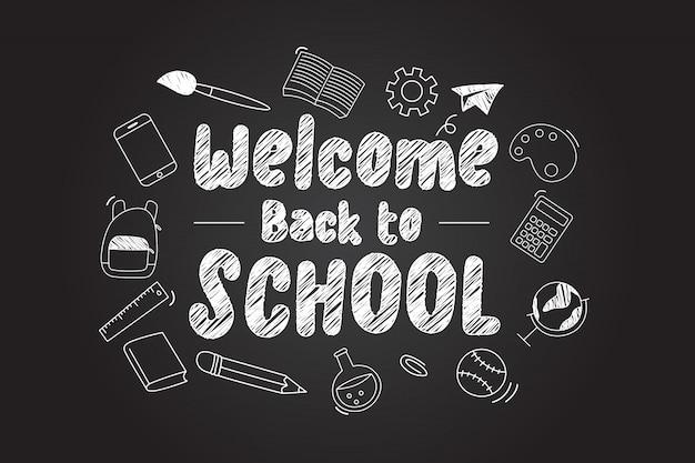 Witamy z powrotem w szkole napis z ikonami scholl
