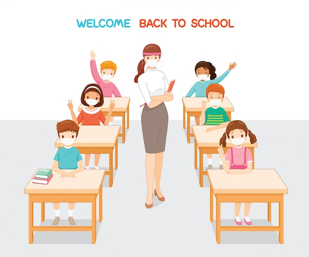 Witamy z powrotem w szkole, nauczyciel i uczniowie w maskach chirurgicznych, relaksujący się w klasie