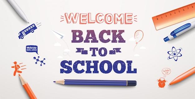 Witamy z powrotem w szkole, rysując tekst na białym tle z przedmiotami i elementami szkolnymi. ilustracja banner