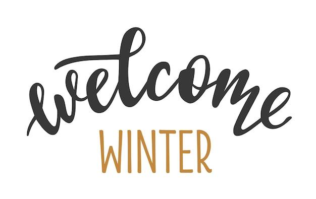 Witamy zima ręcznie rysowane napis