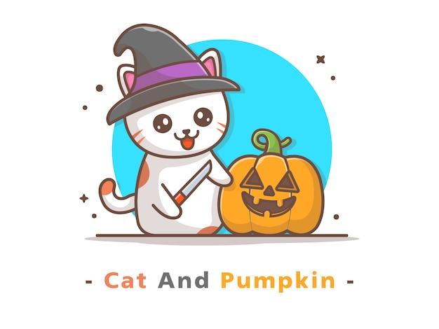Witch cat carve pumpkin