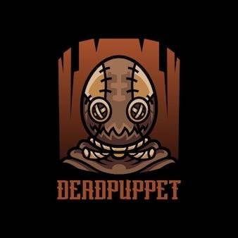 Witch puppet maskotka do logo e-sportu i sportu na białym tle