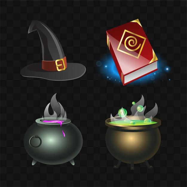 Witchcraft elements - realistyczny nowoczesny wektor zestaw różnych magicznych narzędzi, akcesoriów. czarne tło. księga zaklęć, spiczasty kapelusz, garnek do mikstur. wysokiej jakości kliparty do projektowania obiektów do gier