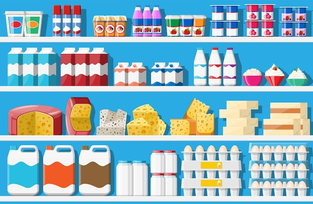 Witryna chłodnicza do chłodzenia produktów mlecznych. różne kolorowe butelki i pudełka w lodówce. chłodziarka do lodówek. mleko, jogurt, śmietana, ser, jajka. płaska ilustracja wektorowa