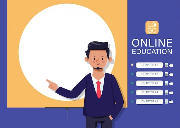 Witryna edukacyjna online, podstawy uczenia się. internetowa aplikacja e-learningowa. postać nauczyciela wskazująca na tablicy.