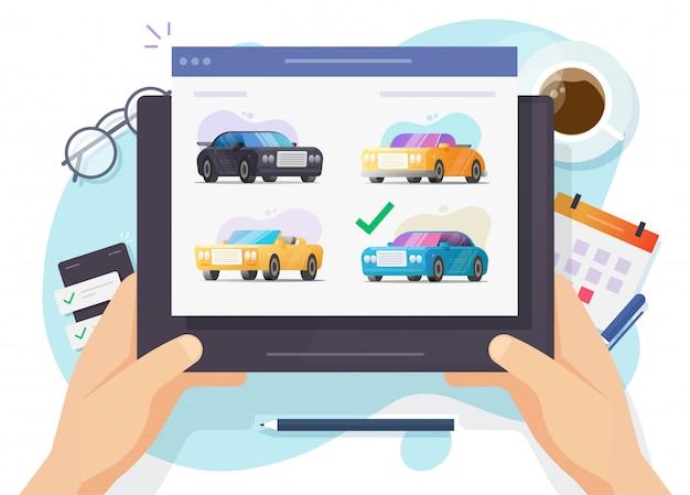 Witryna internetowa aukcji samochodów i samochodów lub porównywarka sklepów z wypożyczalniami samochodów z wyborem samochodu na cyfrowym tablecie