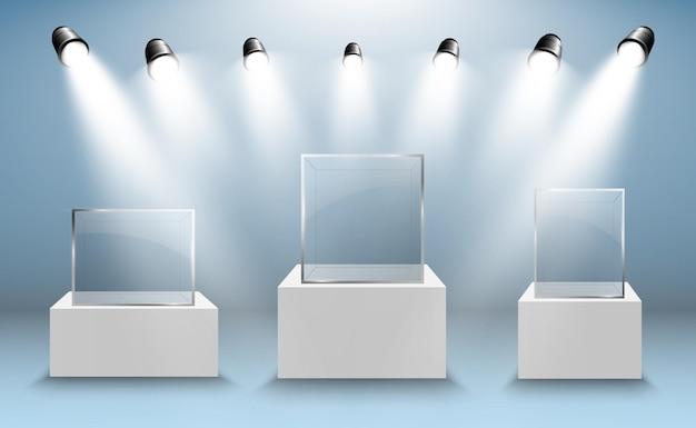 Witryna szklana na wystawę w formie sześcianu tło na sprzedaż podświetlane