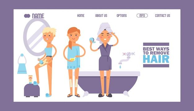 Witryna z instrukcją usuwania włosów, szablon strony docelowej