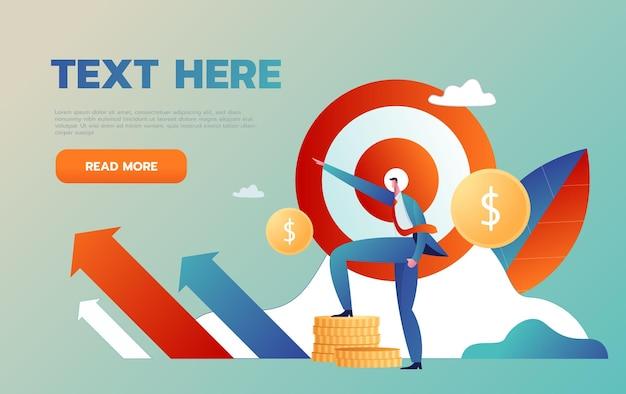 Wizja biznesowa i cel, biznesmen podnieś rękę do czerwonej strzałki, aby przejść do sukcesu w karierze.
