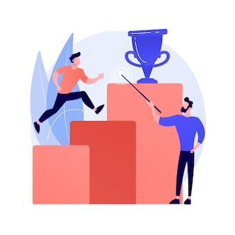 Wizja biznesowa, przewidywanie i prognozowanie. monitorowanie możliwości kariery. praca, poszukiwanie perspektyw, planowanie strategii. ilustracja koncepcja przywództwa i motywacji