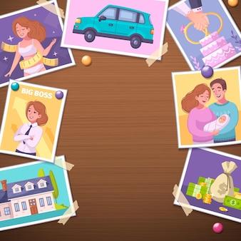 Wizja deska kreskówka projekt z ilustracją symboli kariery i rodziny