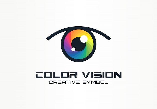 Wizja kolorów, koncepcja kreatywnego symbolu oka aparatu. technologia cyfrowa, bezpieczeństwo, ochrona pomysłu na abstrakcyjne logo firmy. ikona widma tęczy