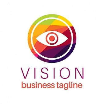Wizja oko logo w kolorowym stylu