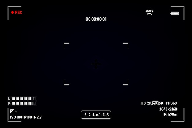 Wizjer aparatu. nagrywanie z kamery w wizjerze. ekran wideo na czarnym tle.