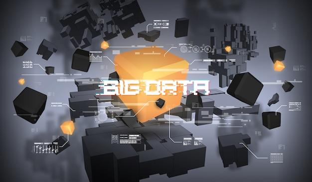 Wizualizacja abstrakcyjna dużych zbiorów danych. futurystyczny estetyczny design. big data z elementami hud.