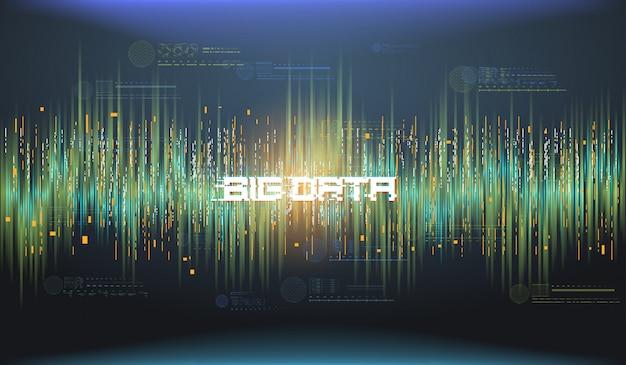 Wizualizacja abstrakcyjna dużych zbiorów danych. futurystyczny estetyczny design. tło dużych danych z elementami hud.