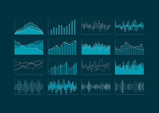 Wizualizacja analizy danych. zestaw elementów hud i plansza. futurystyczny interfejs użytkownika. ilustracja