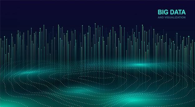 Wizualizacja big data. futurystyczny kosmiczny projekt przepływu danych. streszczenie tło cyfrowe z płynącymi cząstkami. świecący element fraktali z liniami.