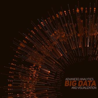 Wizualizacja big data kolista w kolorze pomarańczowym.