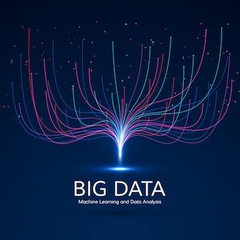 Wizualizacja big data. koncepcja uczenia maszynowego i algorytmu. streszczenie technologia tło. kompozycja fal muzycznych.