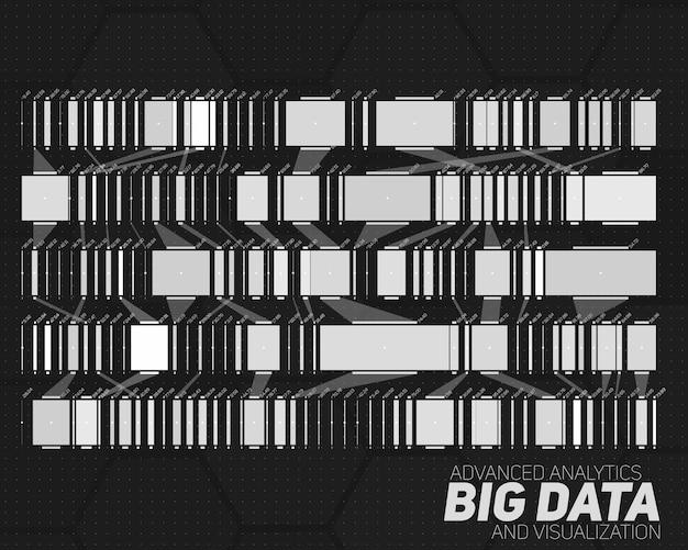 Wizualizacja big data w skali szarości.