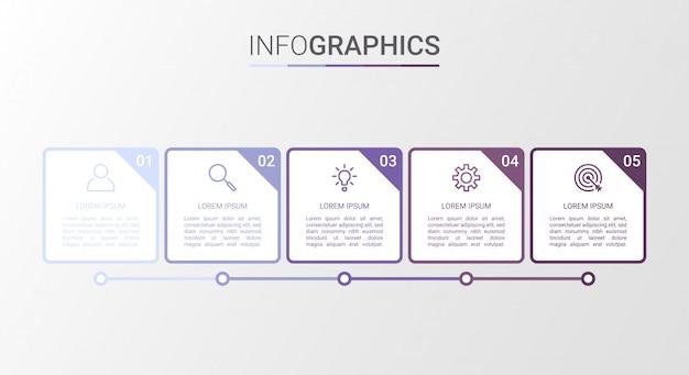 Wizualizacja danych biznesowych, szablon infographic z 5 krokami