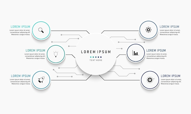 Wizualizacja danych biznesowych. wykres procesu. abstrakcyjne elementy wykresu, diagram z krokami, opcjami, częściami lub procesami. szablon biznesowy. kreatywna koncepcja infografiki.