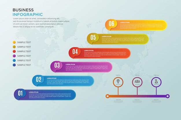 Wizualizacja danych biznesowych z sześcioma krokami, infografika biznesowa