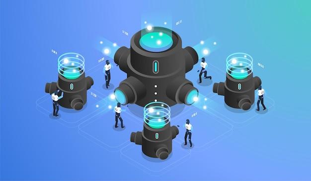 Wizualizacja danych. koncepcja zarządzania siecią danych. maszyna do mediów społecznościowych.