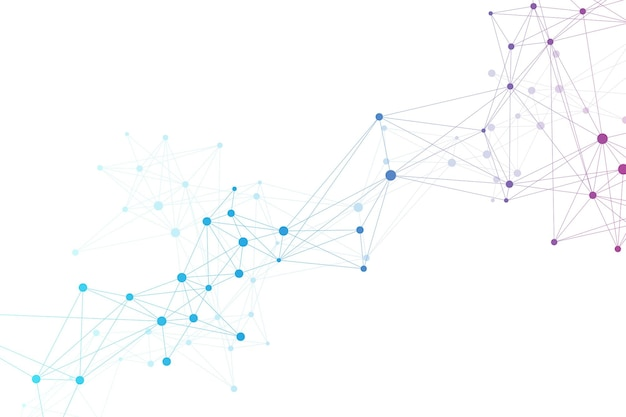 Wizualizacja dużych danych genomowych opieka zdrowotna. spirala dna, nić dna, test dna. cząsteczka lub atom, neurony. abstrakcyjna struktura na tle nauki lub medycyny, baner. ilustracja wektorowa opieki zdrowotnej.