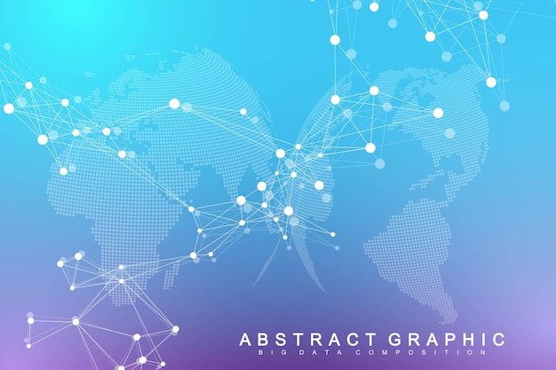Wizualizacja dużych zbiorów danych. geometryczne abstrakcyjne tło złożoność informacji wizualnej. futurystyczny projekt infografiki. technologia tło z połączoną linią i kropkami, przepływ fal. ilustracja wektorowa.