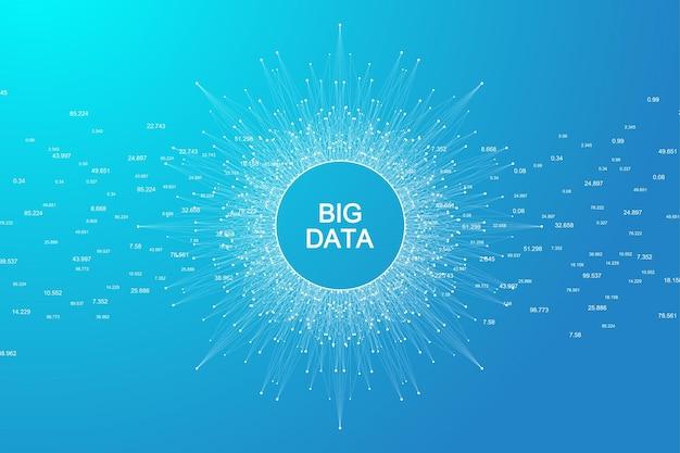 Wizualizacja dużych zbiorów danych. koncepcja sztucznej inteligencji i uczenia maszynowego. graficzne abstrakcyjne tło komunikacji. wizualizacja tła perspektywicznego. ilustracja wektorowa.